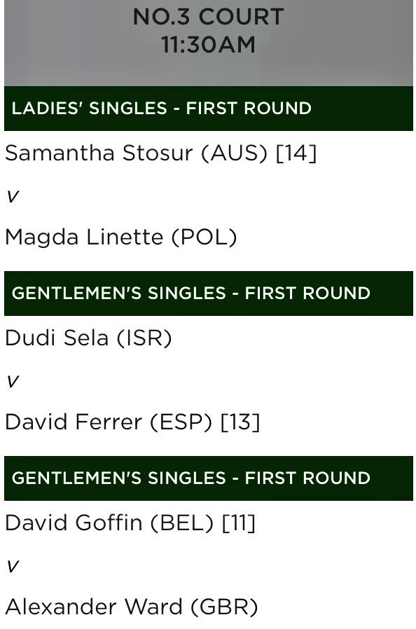 3rd on No.3 Court @Wimbledon tomorrow! Pumped to get out there in front of a home crowd
