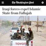 """صحيفة واشنطن بوست : القوات العراقية تطرد عناصر الدولة الاسلامية """"داعش"""" من الفلوجة والتنظيم ينهار #الفلوجه_بلا_ارهاب https://t.co/ENCMgPRTeB"""