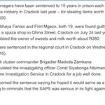 Two 19 year olds sentenced to 15 years for stealing milk and sweets 💔😔. Oscar killed a woman and still on trial https://t.co/YvhYKoaqxU