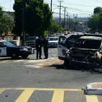 Burned #Oakland police SUV and crashed #OPD patrol car, apparently a high speed chase gone bad. 38th & Carrington. https://t.co/hKaneYiBc9
