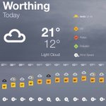 BBC Weather forecast for #Worthing. Today: Light Cloud. Max 21°C, min 12°C. https://t.co/2NNjiO3aZe https://t.co/n2ximpbPIB
