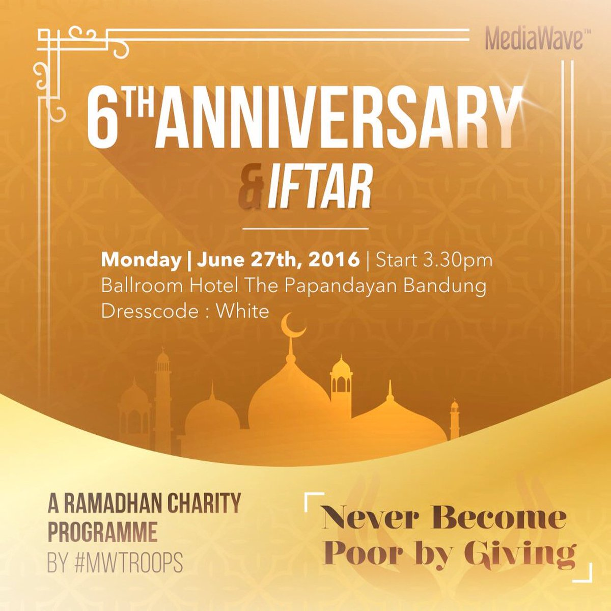 It's Today! Mediawave internal charity event and Iftar Dinner #MweraihBerkah #Mediawave6th https://t.co/01t25oq7Bf