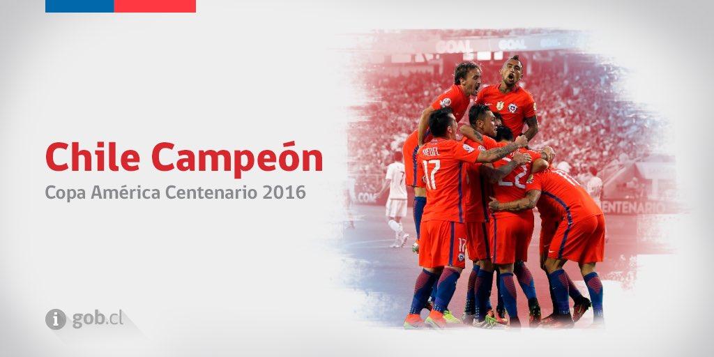 Somos campeones de la Copa América Centenario: ¡segundo título en un año! ¡Felicitamos a @LaRoja por el triunfo! https://t.co/90sfnmg85q