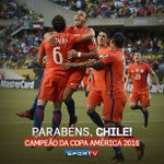 Acabou! O Chile conquista a Copa América nos pênaltis de novo! Parabéns, Chile! #CopaAméricanoSporTV https://t.co/9bfiYhg36J
