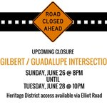 The intersection of Gilbert/Guadalupe Rds is now closed until Tuesday at 10pm for repairs. Please plan accordingly. https://t.co/qhwWm8DfAK