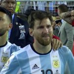 Lionel Messi and Sergio Aguero both in tears after losing the #CopaAmerica final to Chile. https://t.co/CJHXKyboYx