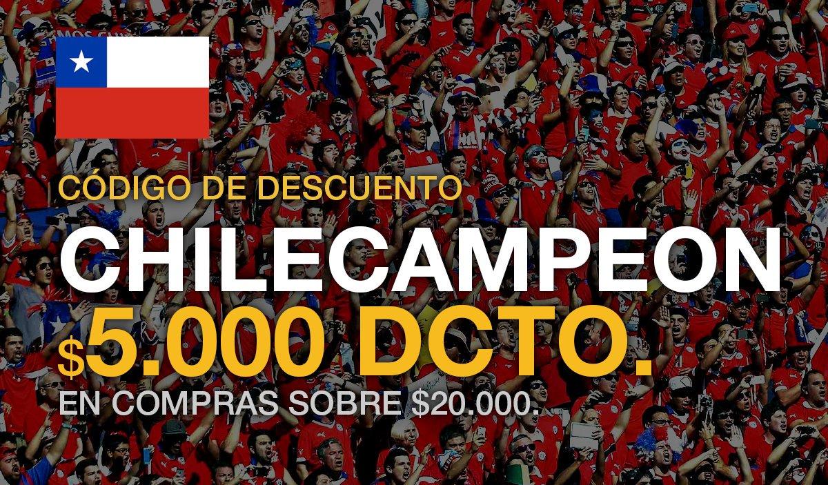 Somos campeones y queremos celebrar!. Código de descuento CHILECAMPEON. $5000 de dcto. :D https://t.co/ObwKXznSoM