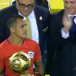 Photos: Alexis picks up his Golden Ball award for the best player of the tournament. #afc https://t.co/txU0mmK4w0