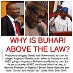 Nigeria: Saraki & Ekweremadu dragged to court. Buhari thinks Nigerians are fools. .@MBuhari https://t.co/edD3zwrzZO https://t.co/dnAOG1paEo