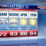 Showers depart this morning, & the sun is back this afternoon. Another toasty day with highs near 90 once more! #ROC https://t.co/ANRIiCa2lB