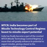 MTCR: India becomes part of Missile Technology Control Regime; boost to missile export potential https://t.co/71BRJf2HJe