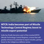India becomes part of Missile Technology Control Regime; boost to missile export potential https://t.co/nhbs8iTlkK https://t.co/sDBkWHDPTf