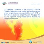 🔴 Hot weather continues tomorrow especially over central and southern areas. #Qatar https://t.co/Q0cEhGJ0EN