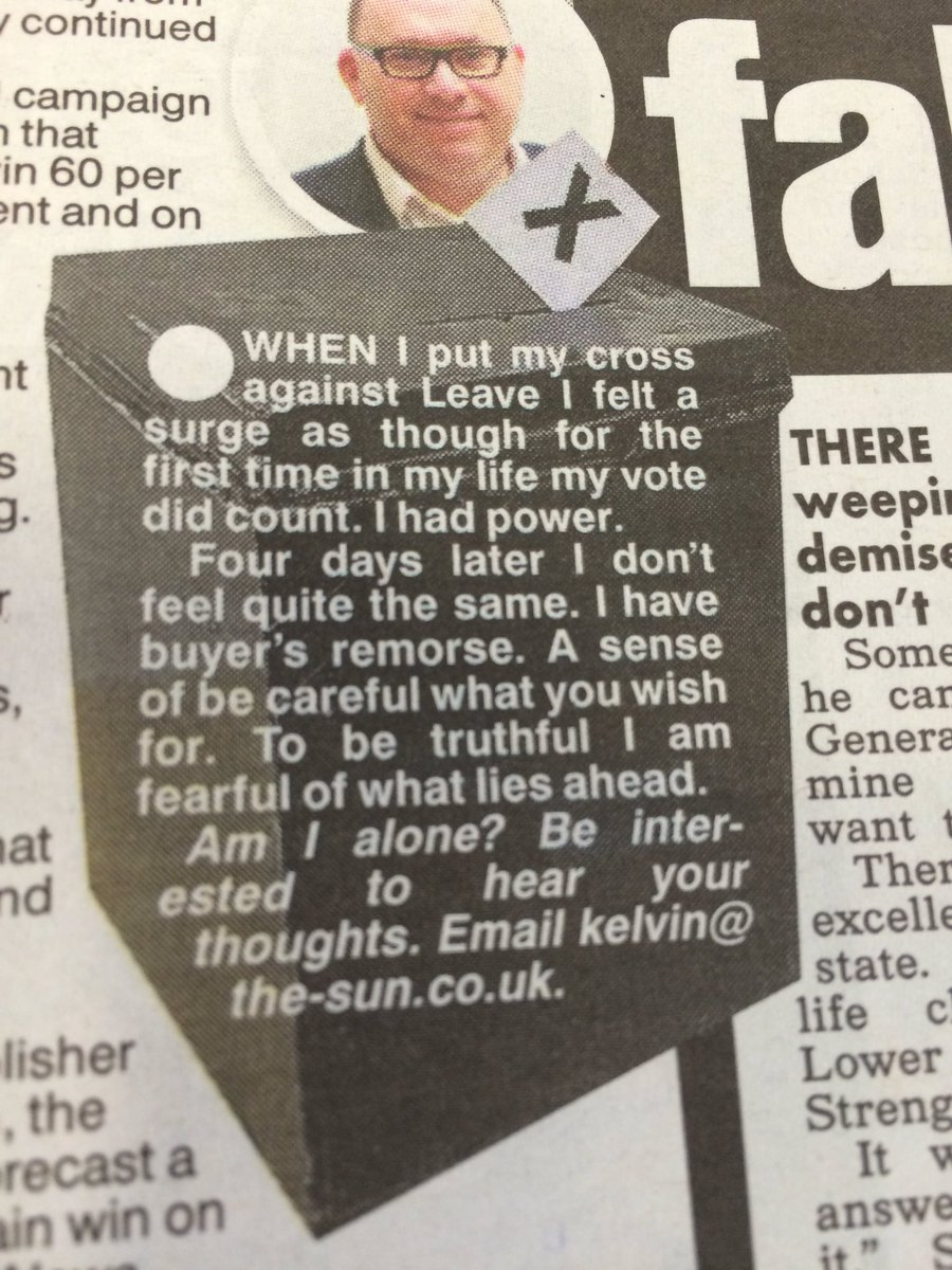 Kelvin MacKenzie: 'I have buyer's remorse. To be truthful I am fearful of what lies ahead'. https://t.co/uLAxxcuTCi