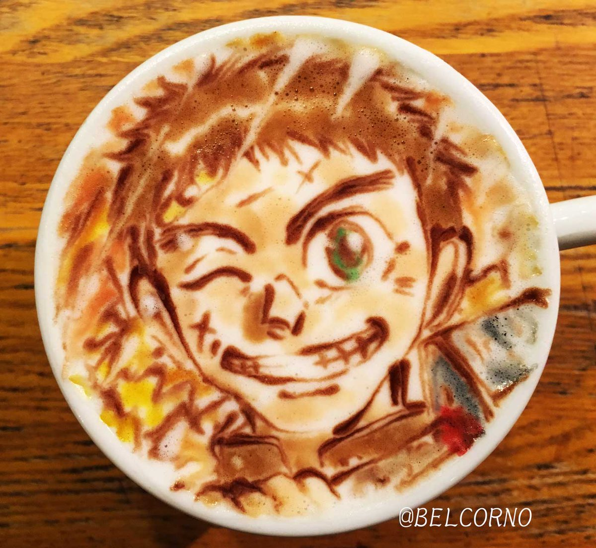 素晴らしいアートをありがとうございましたー! RT : ラテアート【蒼月潮】@うしおととらアニメお疲れ様でした!#うしお