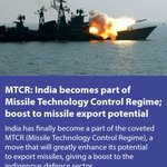 MTCR: India becomes part of Missile Technology Control Regime; boost to missile export potential via NMApp https://t.co/IfbFtECeCA
