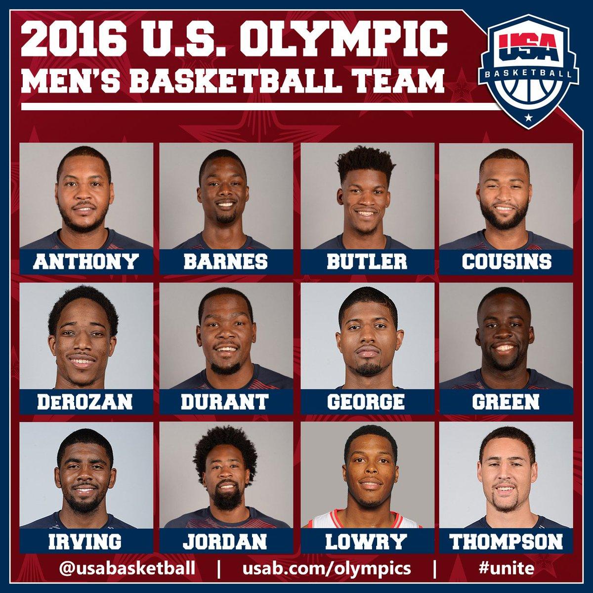 Meet the 2016 U.S. Olympic Men's Basketball Team  Roster: https://t.co/SVpGiA5Dxl  #UNITE #RoadToRio #USABMNT https://t.co/hcg1tqPUOX
