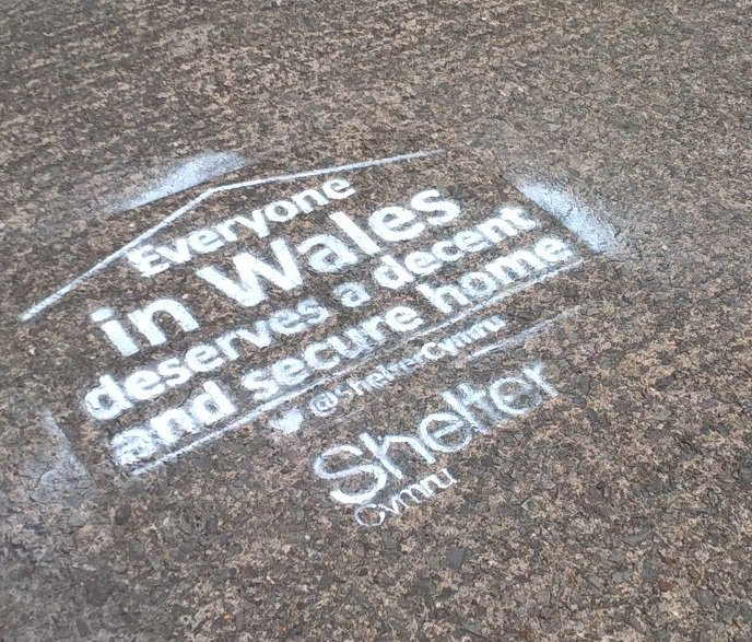 Check out our chalk stencil outside our #Cardiff office. Everyone in Wales deserves a decent and secure home. https://t.co/2TnPNYjPDC