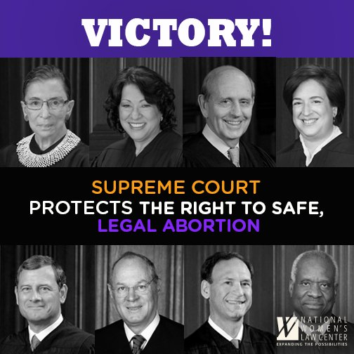VICTORY: #SCOTUS delivers major win for women & allows Texas clinics to stay open! #MyDecision https://t.co/EE0HD9be4O