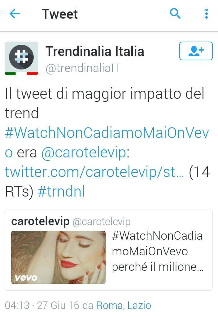 #WatchNonCadiamoMaiOnVevo
