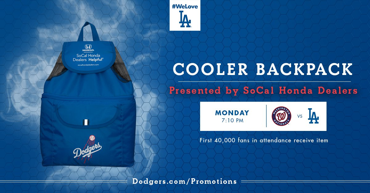 MONDAY: First 40K In Get A #Dodgers Cooler Backpack Presented By SoCal  Honda Dealers