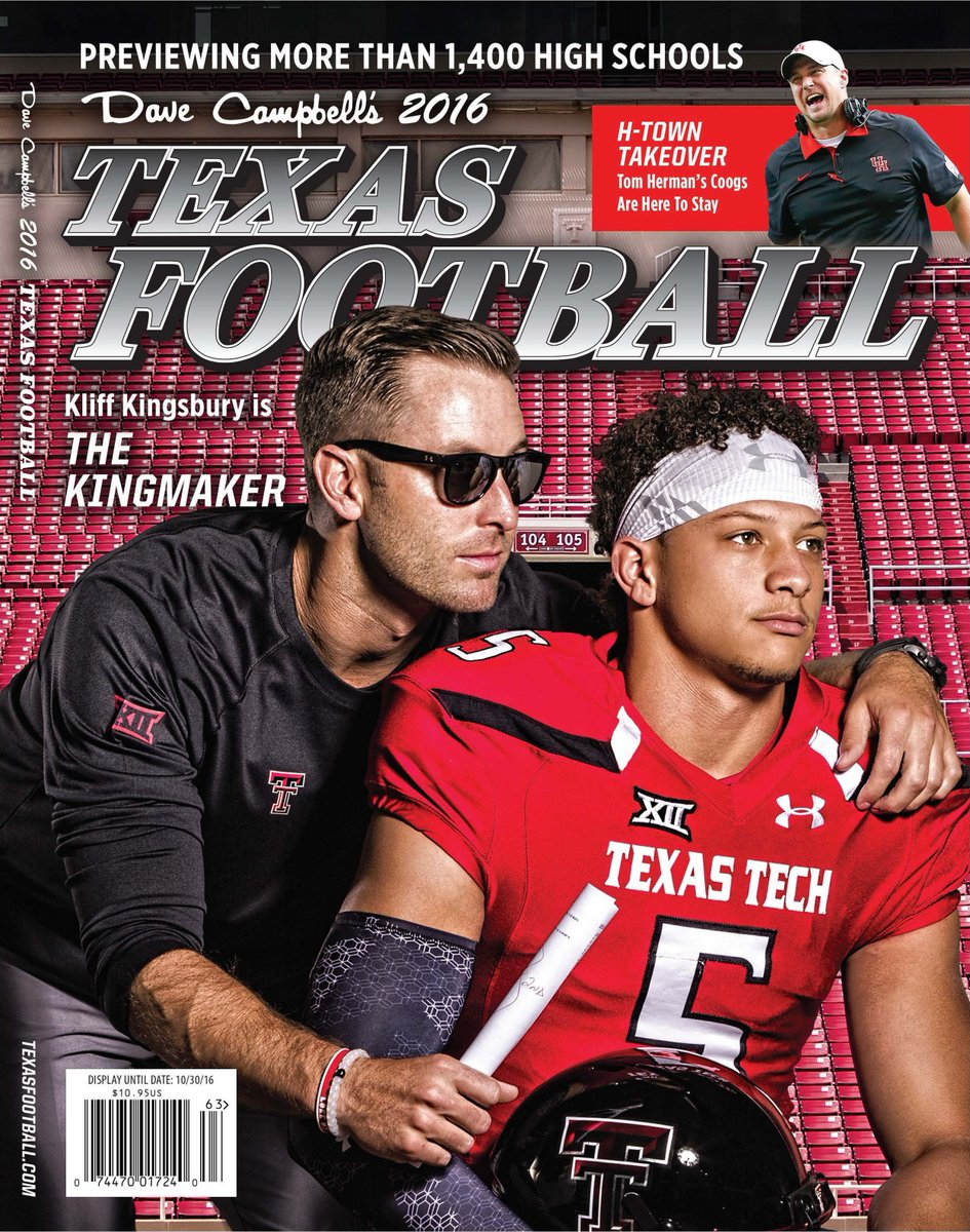 REVEALED: The 2016 summer edition of Dave Campbell's Texas Football, featuring @TTUKingsbury and @PatrickMahomes5! https://t.co/jqmqBvXQxJ