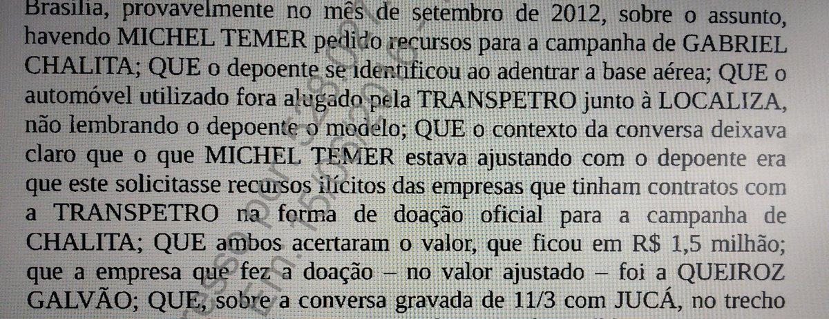 """Trecho da delação de Machado em que ele acusa Michel Temer de envolvimento com recursos """"ilícitos"""" na Transpetro: https://t.co/S5O670b9vM"""