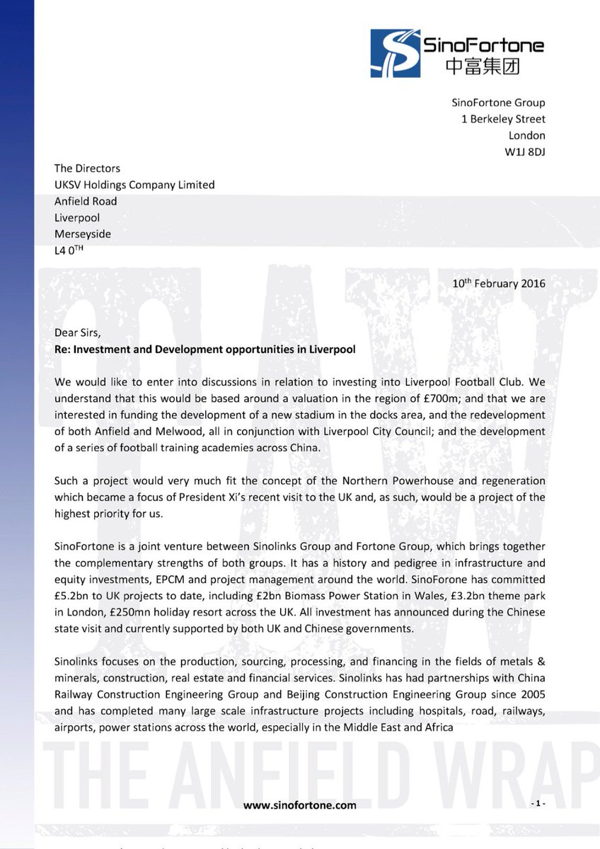 Regarding reports of an interest in a Liverpool FC takeover, we have been given this letter. #LFC https://t.co/WIC7wsIHDF