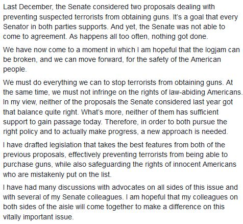 Tomorrow, I will introduce legislation to help keep guns from terrorists and protect law-abiding Americans. https://t.co/VeWImeBQgv