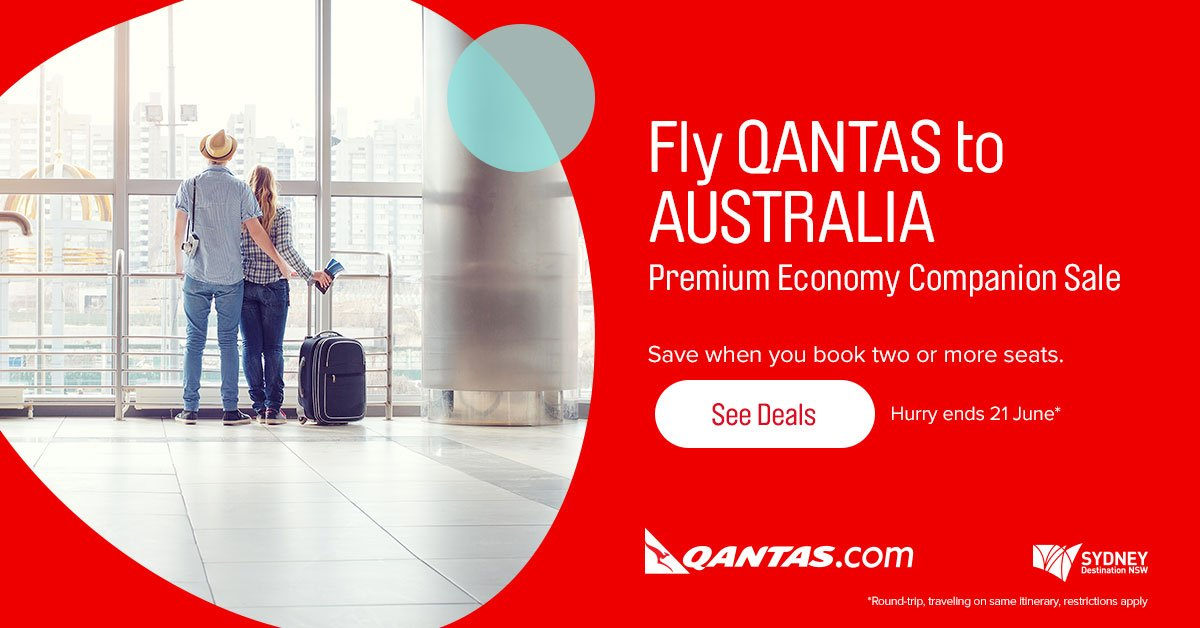 Save when you book two or more seats on Qantas in Premium Economy.  More details -