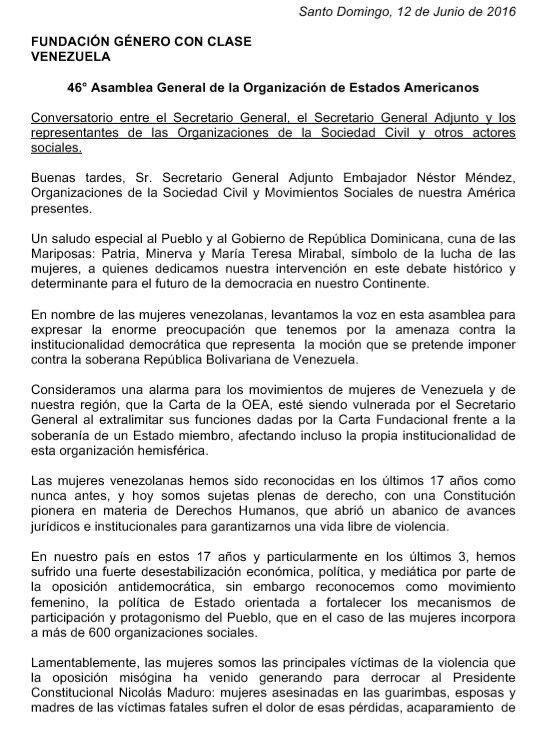 Género Con Clase participó en la 46 Asamblea General de la OEA. Dejamos sentada posición contra la injerencia https://t.co/UjXYBcxq0W