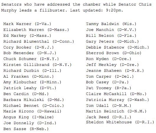 Shout out to @PatToomey and @BenSasse, the two republicans that have just joined the #filibuster. https://t.co/1PymkwEzGj