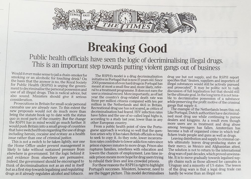 Today's Times editorial in full. It urges the UK government to copy Portugal and decriminalise all drugs https://t.co/2IWwvUDj9P