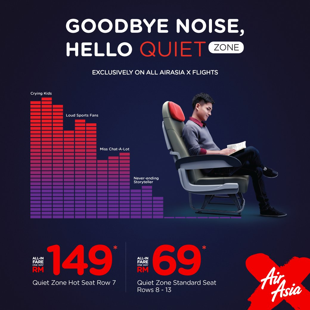 Need some peace & quiet when u fly?Choose the AirAsia X Quiet Zone when u book yr nxt flight