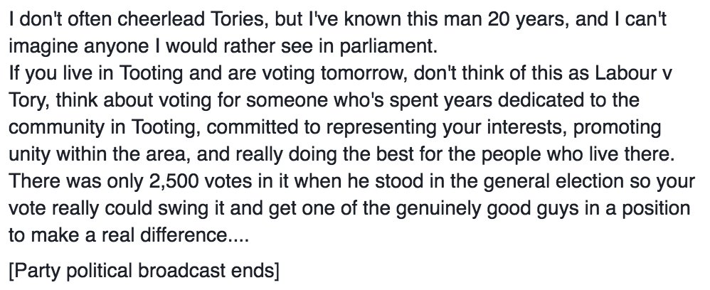 I'm rarely pro-Tory but if you're voting in #Tooting today do think @DanWatkins (this from my FB last night...) https://t.co/MSPO2hA0Fj