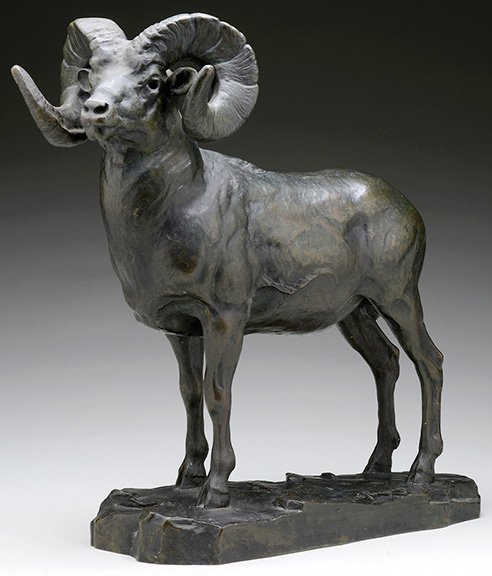 "16½"" x 17"" bronze sculpture of a bighorn sheep by Carl Rungius (1869-1959), $225,150 #art #sculpture #antiques https://t.co/7cQMKzO487"