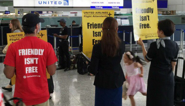 United Airlines' Hong Kong flight attendants lead global day of airport