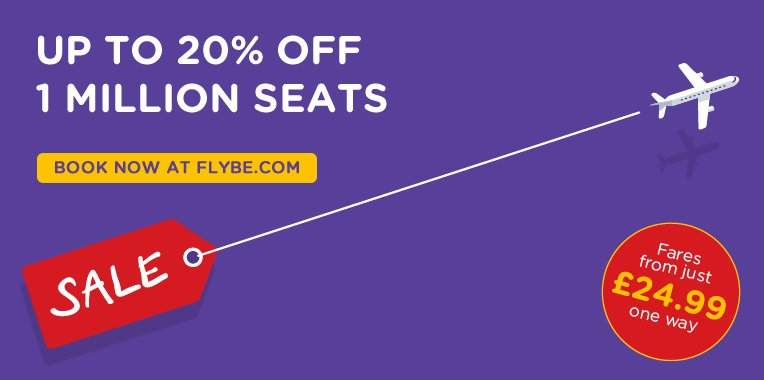 The Flybe sale is here! Book by 21st of June for travel from 12th July - 25th March 2017.