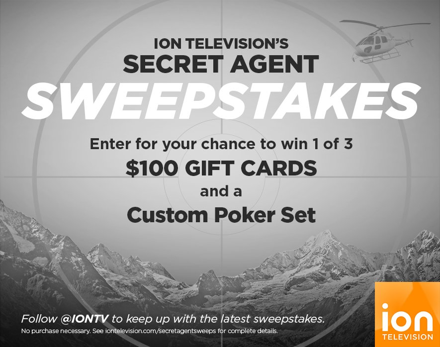 Enter @IONTV's #SecretAgentSweeps for a chance to win a $100 Gift Card & Poker Set! #entry https://t.co/0aNcYmOPfW https://t.co/VMfqKP2Xp0