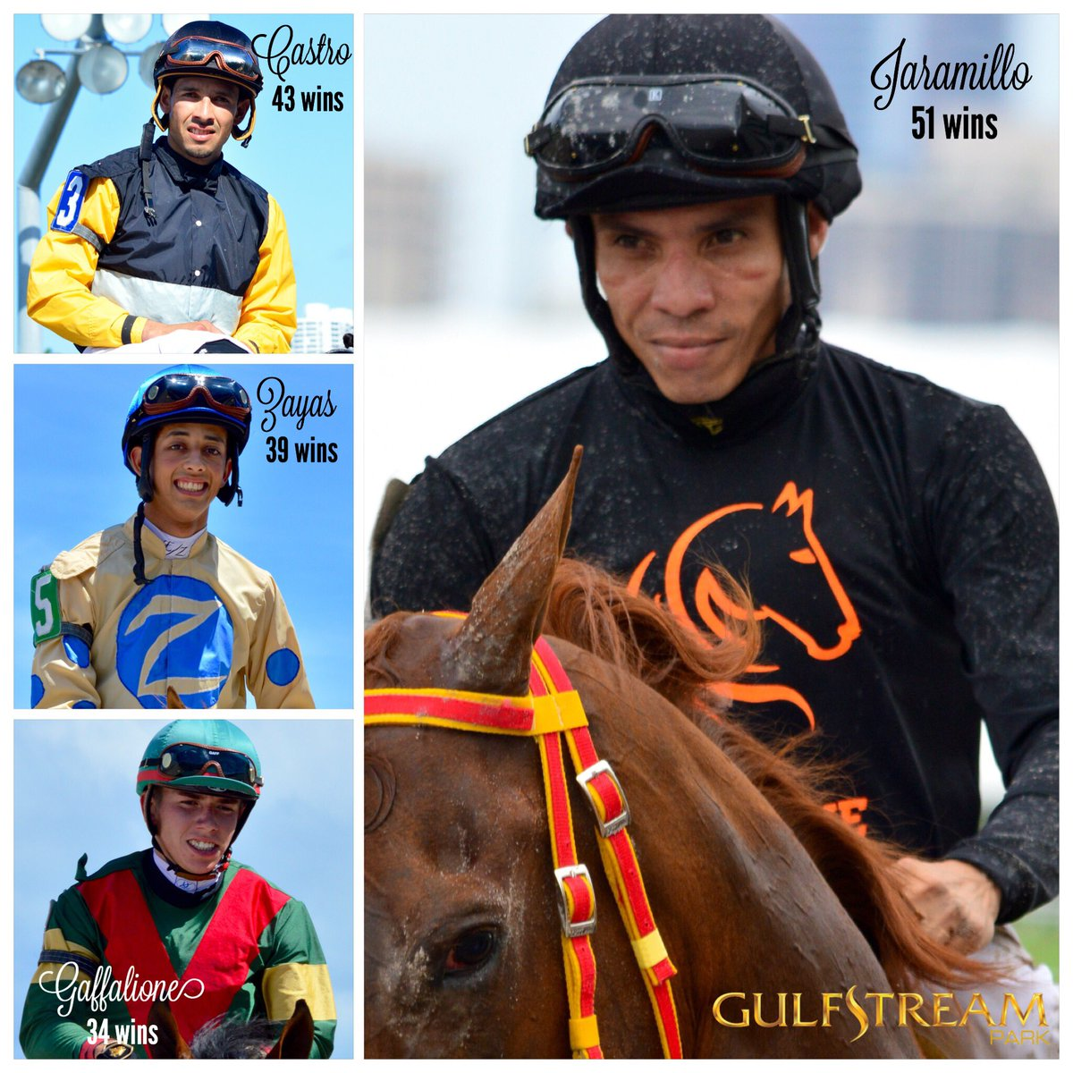 #GulfstreamPark Top Jockeys, up to 6/12 @jaramillojockey (VEN) in front with 51 wins, data of @Equibase https://t.co/1oB3hqbesN