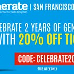 For this week only, celebrate 2 years in the US with 20% off #GenerateConf San Francisco! https://t.co/piWlmlyY2x https://t.co/y62sOGPtb6
