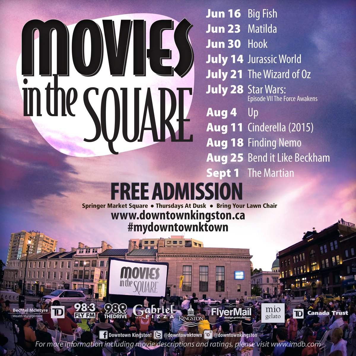 Movies in the Square starts tonight at dusk in Springer Market Square! Please note there has been a date change #ygk https://t.co/K3S8JELt0x