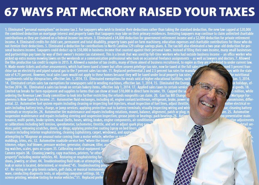 .@PatMcCroryNC raised taxes 67 ways. RT to tell him those are the wrong priorities https://t.co/2eGLsLok9H #ncgov https://t.co/rYGjFqpj5E