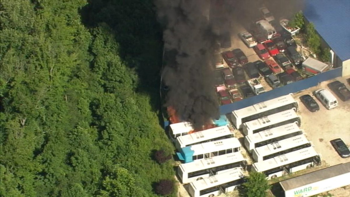 Photo Bus On Fire At Auto Parts Store Scrap Yard In Charlotte Nc Wsoctv