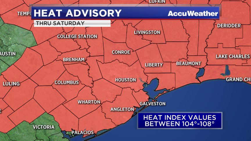 "Heat Advisory for the Houston area extended through Saturday evening. Expect ""feels like"" temps between 104-108° https://t.co/OTDpVH26lj"