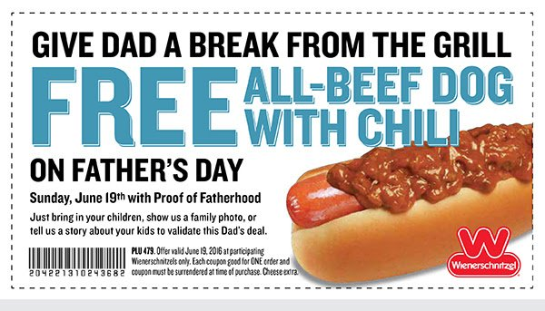 Dads get a FREE All-Beef Dog with Chili on #FathersDay! Screenshot or print this coupon. See store for details. https://t.co/T1wfb6kPBl