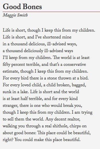 "Damn: ""Good Bones"", by @maggiesmithpoet — https://t.co/jEMLYytbXh (via @emilynussbaum ) https://t.co/kTaG3ITDJG"