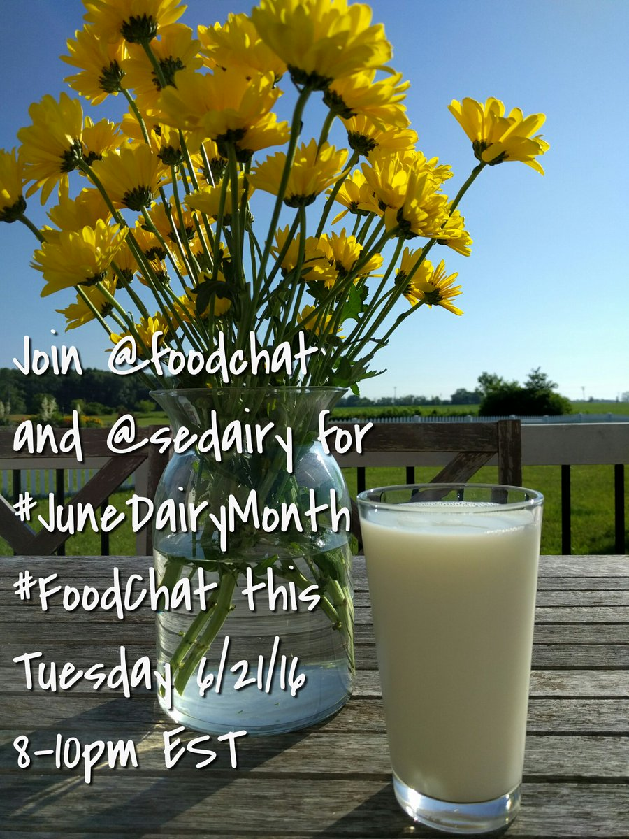 Please join us and @sedairy for #foodchat this Tuesday at 8-10PM EST for #JuneDairyMonth DM your questions! https://t.co/6fDwcfnM6l