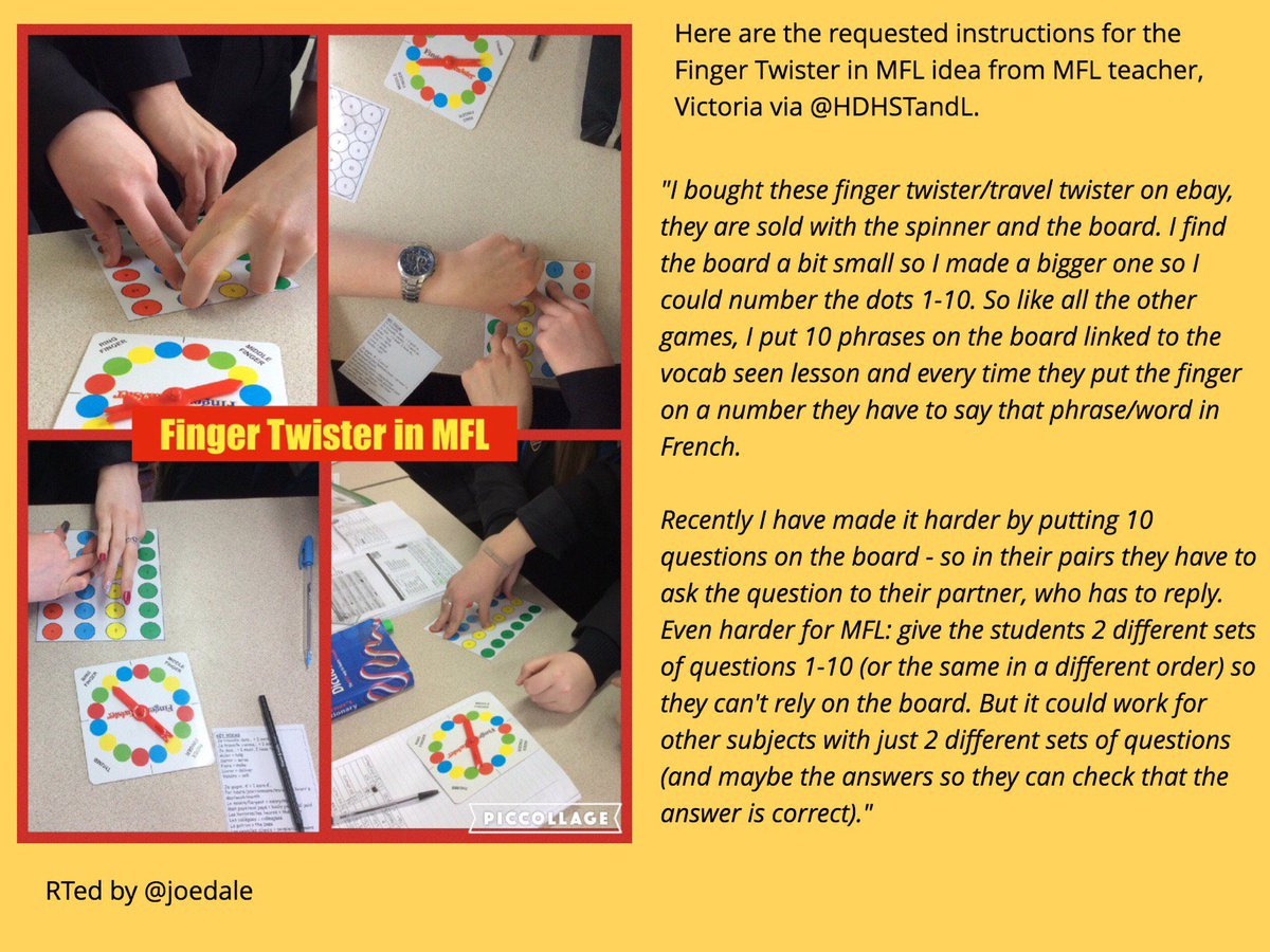 Here are instructions as requested by many of the #mfltwitterati for the Finger Twister in MFL idea via @HDHSTandL https://t.co/oAKqx4F6bF