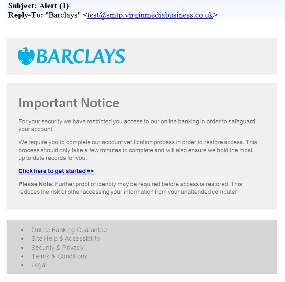 Be on the lookout for these new scam emails pretending to be from Barclays #FraudFriday https://t.co/fwSN7gFMQu